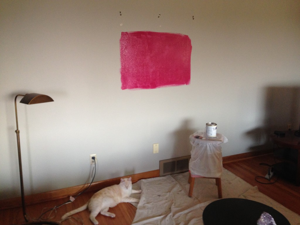 Living room test color. Magenta 2077-10 from Ben Moore (mixed by Miller.)