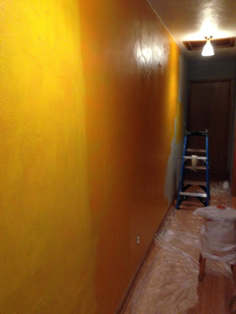 A test color wash. I liked it, but not for this house.