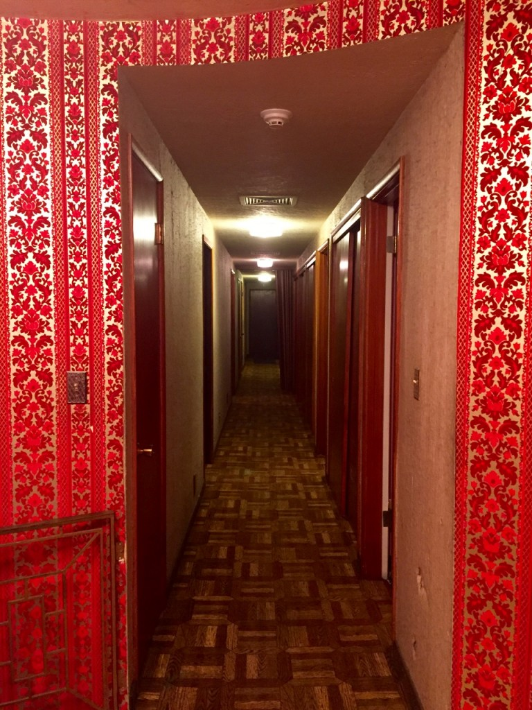 Long hallways with every sort of room left and right.