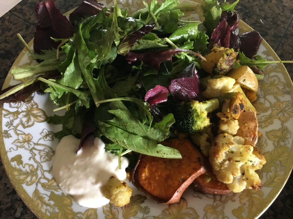 Mixed baby greens with balsamic dressing, over-roasted veggies, and horseradish dipping sauce.
