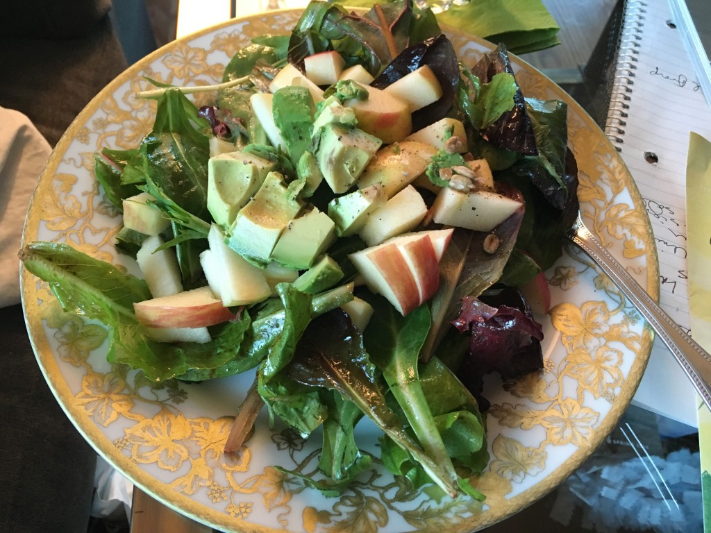 Happy hour greens with apples, avocado, and balsamic dressing.