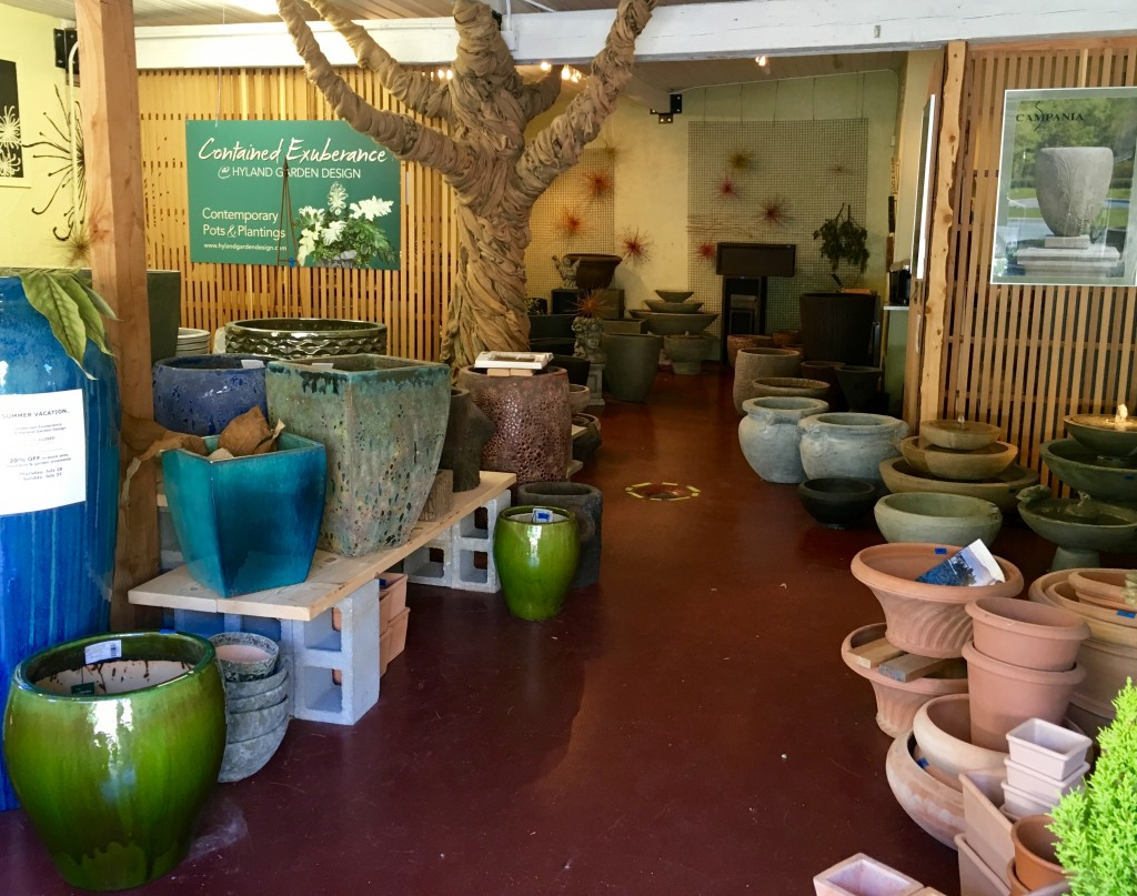 Bob Hyland's shop, with pots arranged to form  the stream banks.