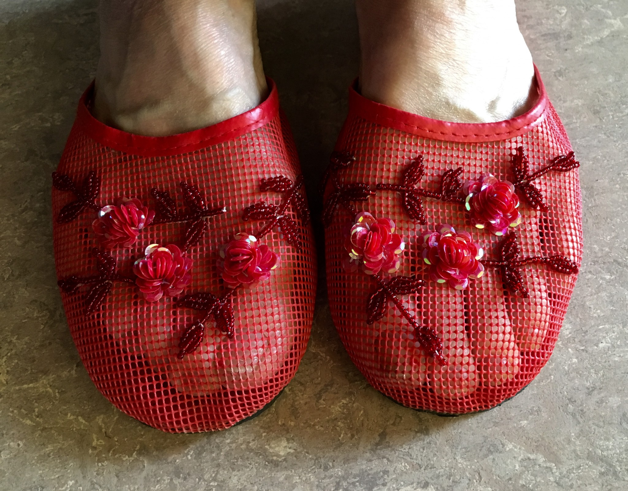 Red Mesh Slipper aka forest shoes.
