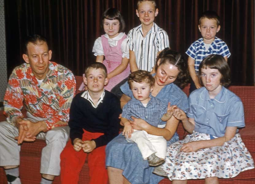 The Cunninghams. That's me on the top, then David, Bobby, Dad, Edward, Mom with Philip, and Kathy.