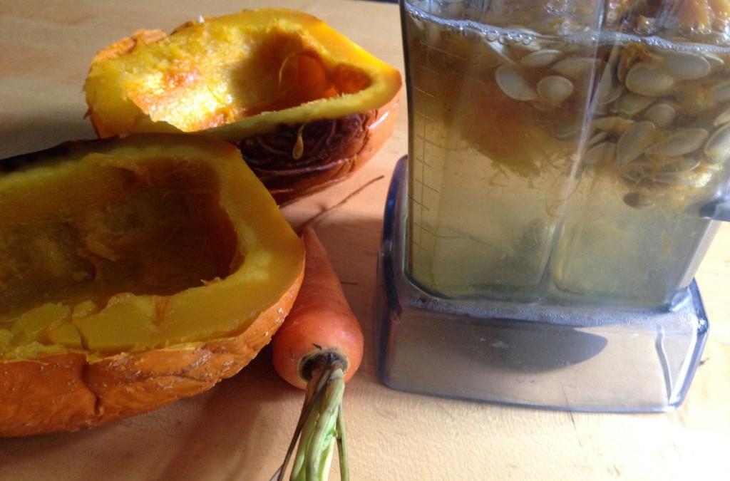 pumpkin guts in the blender