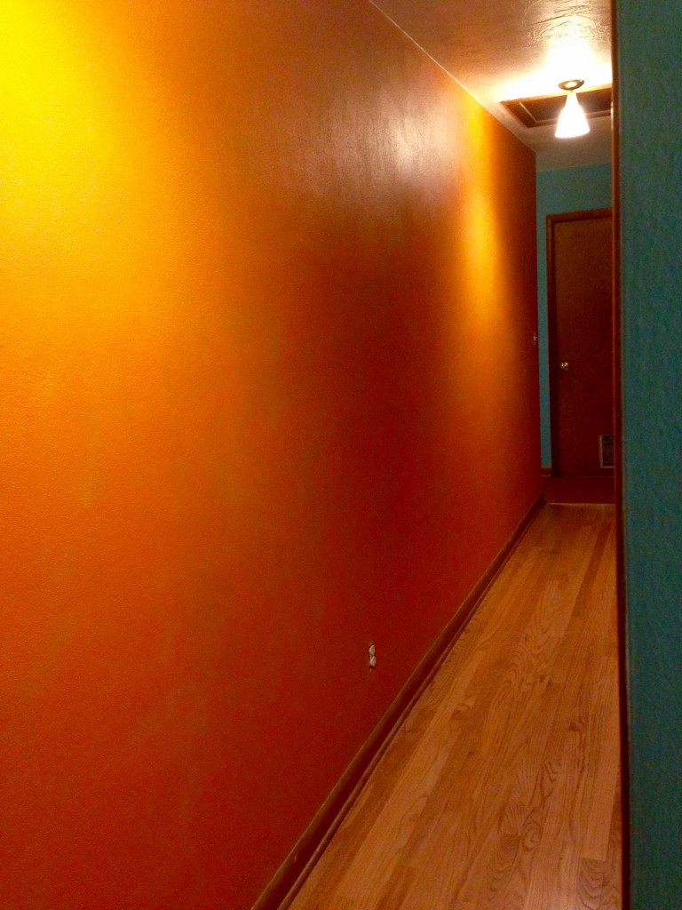 Bright orange hallway, but just on one side. Baby boy blue on the other.