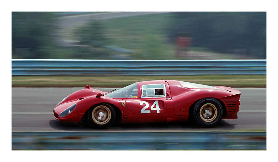 1967 Ferrari 412P -- photo by Bill Wagenblatt 1978, Watkins Glen, New York