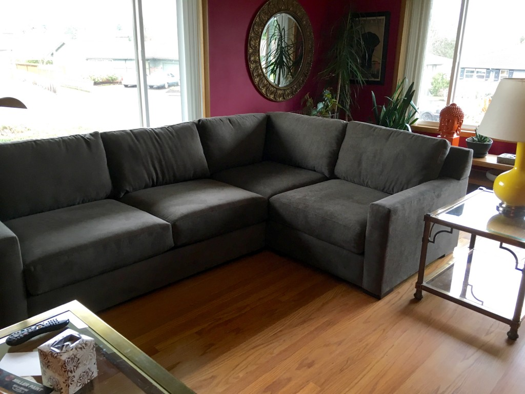 New sofa that couldn't be more perfect--except for the short side. Additional piece in the works to extend by another pillow width.