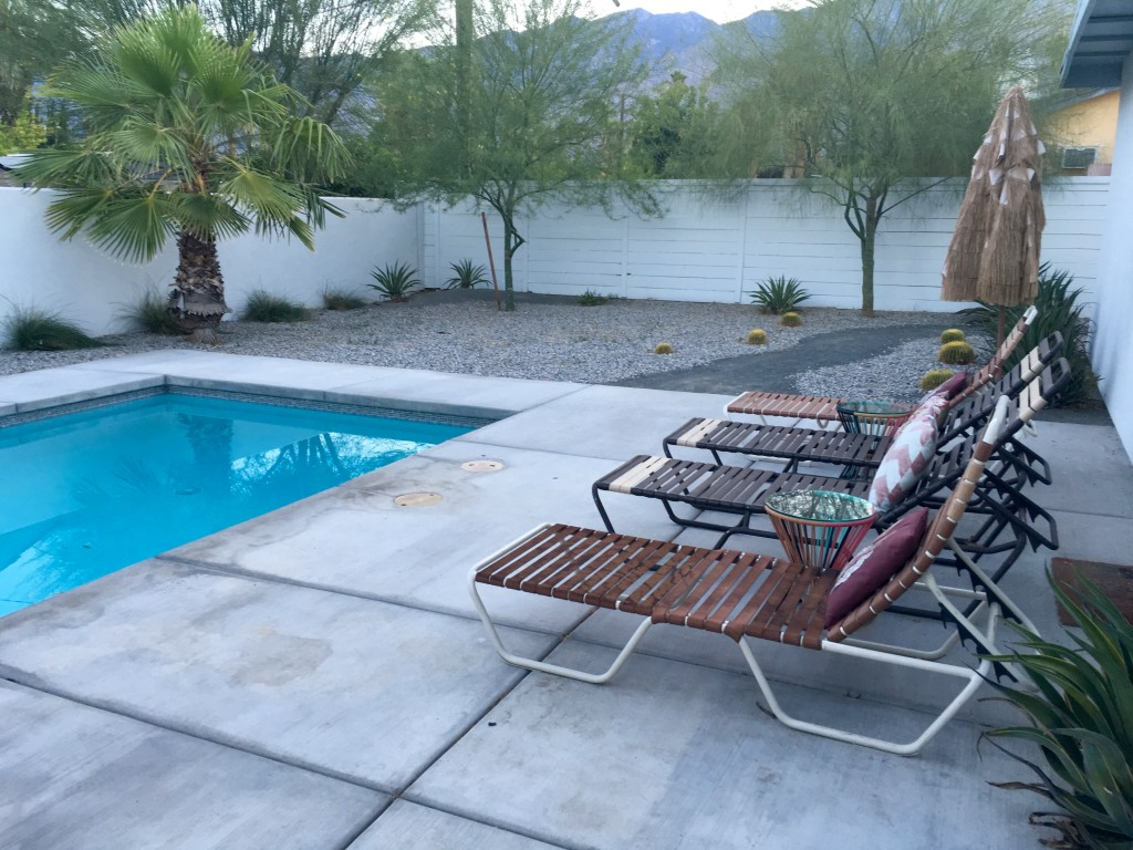 Pool with mountain range backdrop. San Jacinto Mountains?