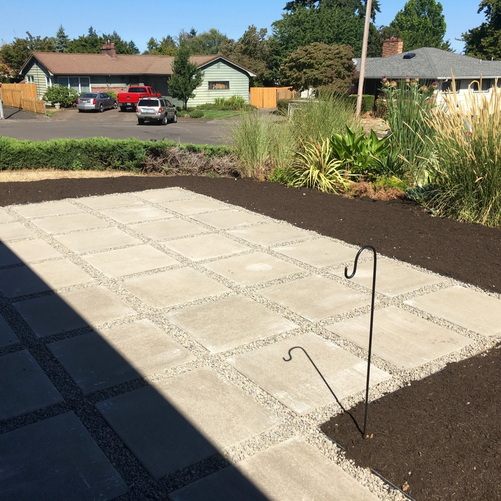 No plan yet for rearranging front garden post patio addition.