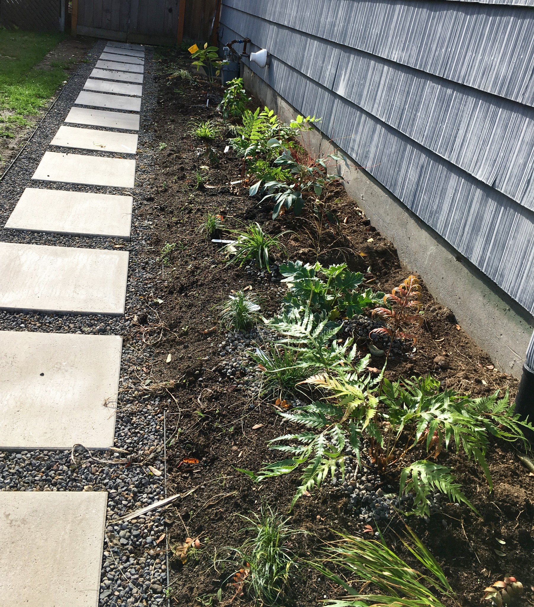 """East Paver Path Bed -- """"protected"""" by the eaves."""