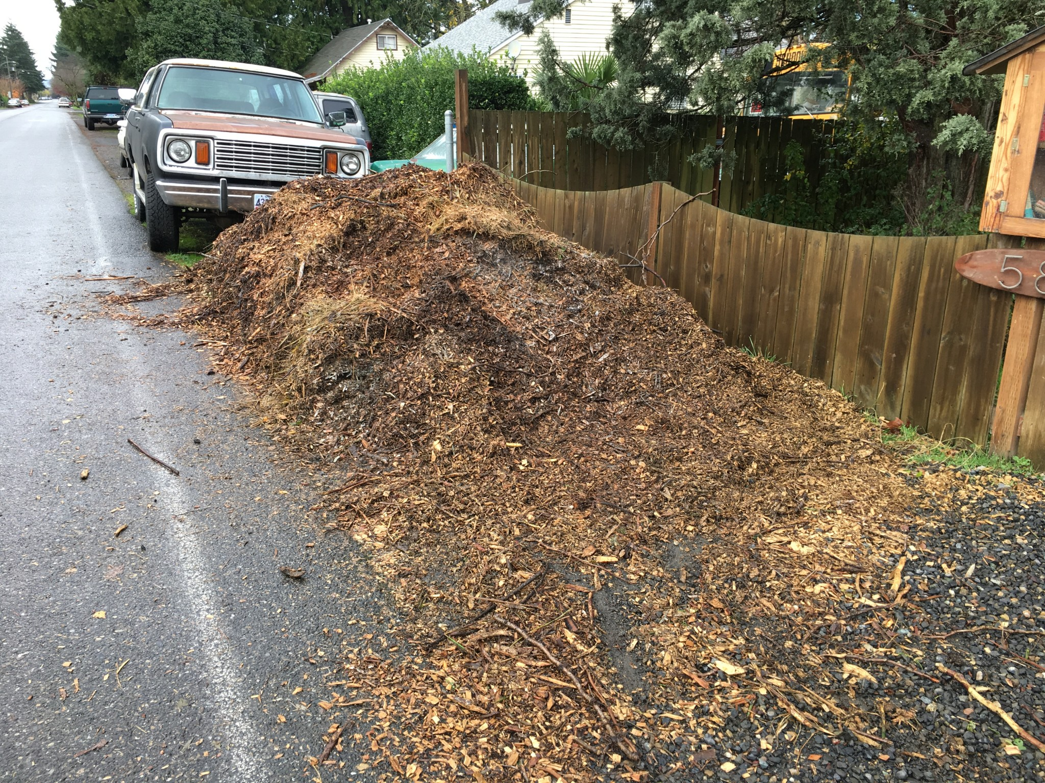 Wood chips look a mess when delivered.