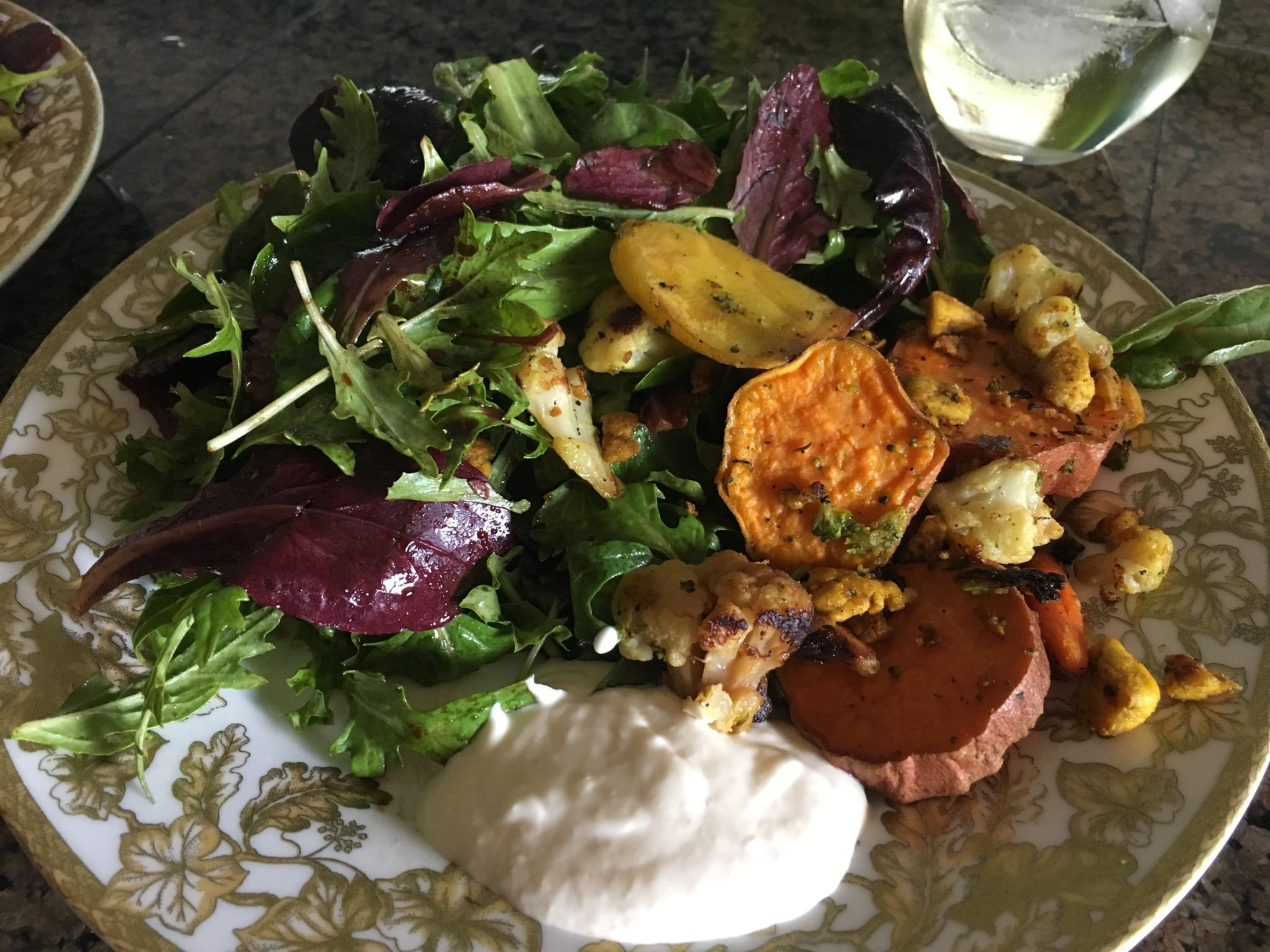 Winter salad with roasted veggies and horseradish sauce.